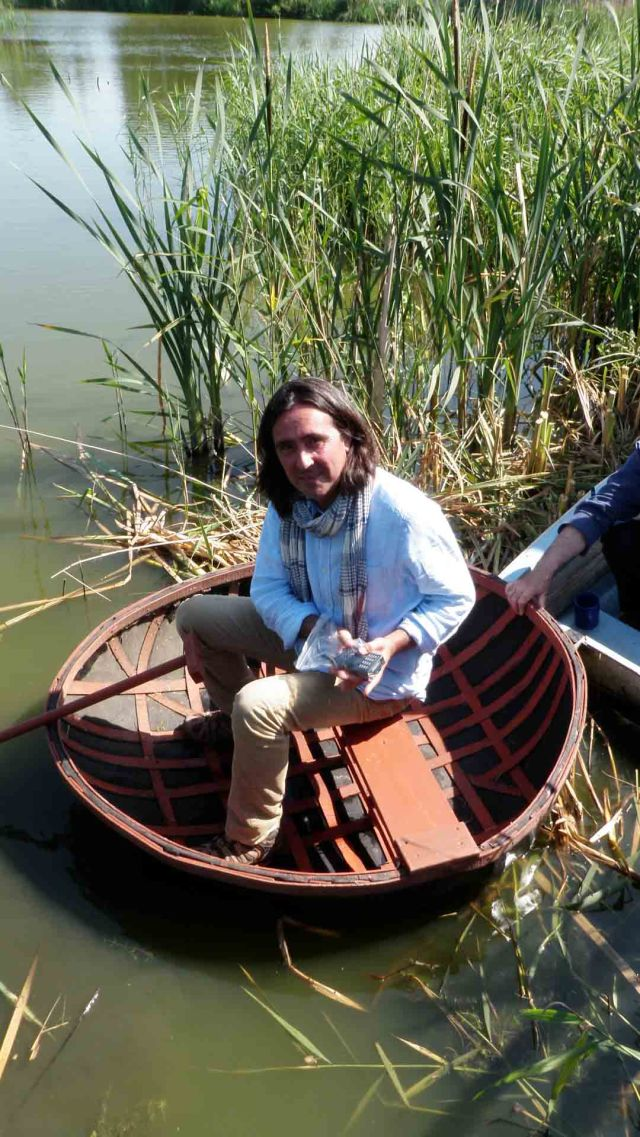 Neil Oliver in coracle close-up