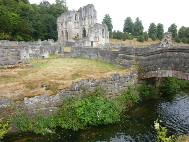 The ruins of Roche Abbey, with the transept of the Abbey Church in the background. The stream in the foreground is the Maltby Beck, which passed beneath the monks' latrines (not in this picture for reasons of delicacy).